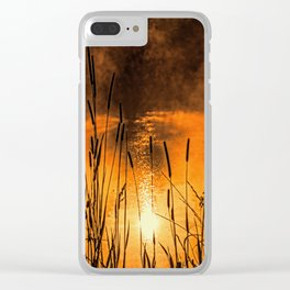 Sunrise at the lake /Sonnenaufgang am See Clear iPhone Case