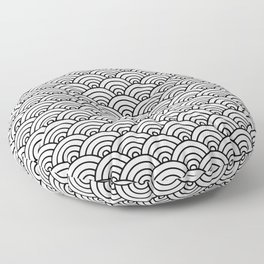 Seigaiha black and white japanese waves Floor Pillow