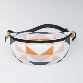 Cute Geometric Quilt Block in Retro Beach Vibes Color Fanny Pack