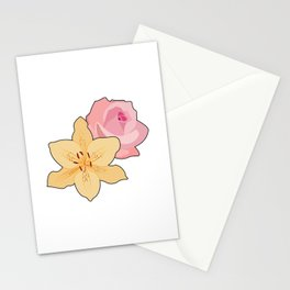 Pink Rose & Day Lily Stationery Cards
