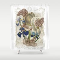 cage Shower Curtains featuring BIRD CAGE by TOO MANY GRAPHIX
