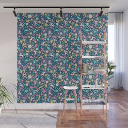 Floral Burst with Dinosaurs + Unicorns in Neon Wall Mural