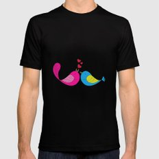 Love Birds Black Mens Fitted Tee MEDIUM