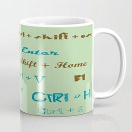keyboard shortcuts retro blue Coffee Mug