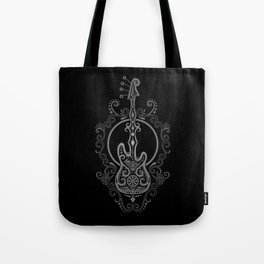 Intricate Gray and Black Bass Guitar Design Tote Bag