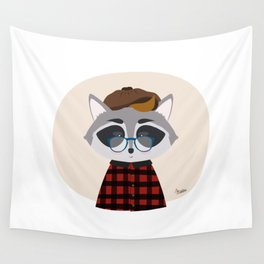 Hipster Raccoon Wall Tapestry