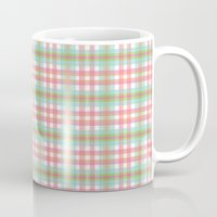 preppy Mugs featuring Preppy Plaid by Laura