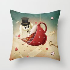 fantasy with red cup of tea and rabbit Throw Pillow