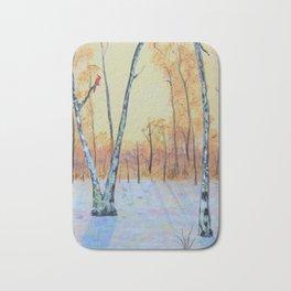 Winter Birches-Cardinal Left Bath Mat
