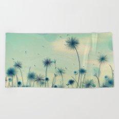 Whimsical Indigo Dandelion Flower Garden Beach Towel