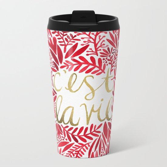 That's Life – Gold & Red Metal Travel Mug