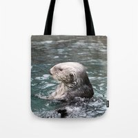 otter Tote Bags featuring Otter by RMK Creative