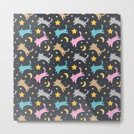 Cute kitten pattern on black background Metal Print