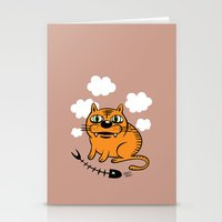 fat Stationery Cards featuring FAT CAT by Alberto Corradi