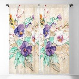 Pansies Bouquet Blackout Curtain