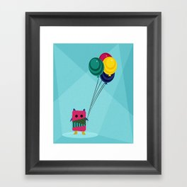 Monster + Balloons Framed Art Print