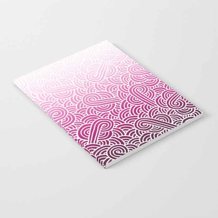 Ombre pink and white swirls doodles Notebook