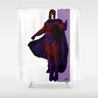 magneto Shower Curtains featuring Magneto by Andrew Formosa