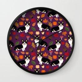 Tricolored Corgi autumn woodland pillow print iphone case phone case corgis cute design Wall Clock