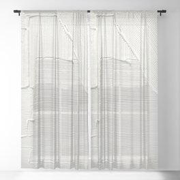 Relief [2]: an abstract, textured piece in white by Alyssa Hamilton Art Sheer Curtain