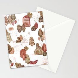 Hansel and Gretel Fairy Tale Gingerbread Pattern on White Stationery Cards