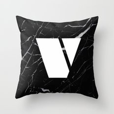 Black Marble - Alphabet V Throw Pillow