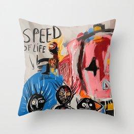 """The speed of life"" Street art graffiti and art brut Throw Pillow"