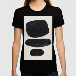 Mid Century Modern Minimalist Abstract Art Brush Strokes Black & White Ink Art Tribal Pebbles T-shirt