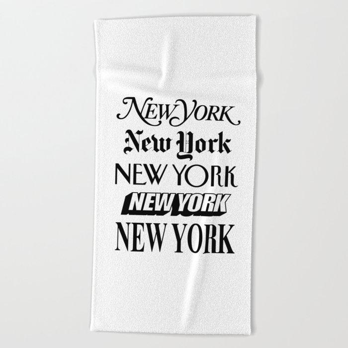 I Heart New York City Black and White New York Poster I Love NYC Design black-white home wall decor Beach Towel