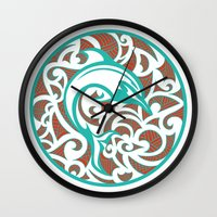maori Wall Clocks featuring Maori Dolphin by freebornline