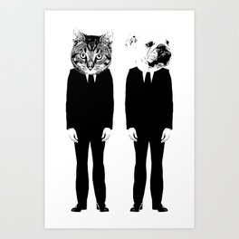 The Cat and Dog Business Men Art Print