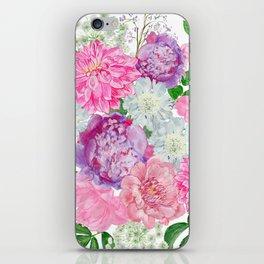 Pink bouquet of garden flowers iPhone Skin