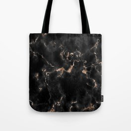 Rose Gold and Black Marble Tote Bag