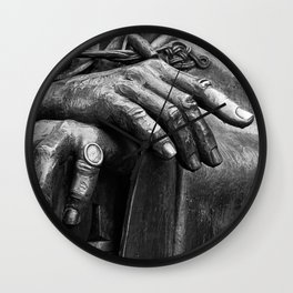 Hands of Wisdom - Black & White Wall Clock