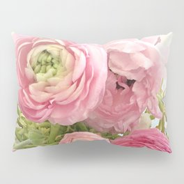Shabby Chic Cottage Ranunculus Peonies Roses Floral Print Home Decor Pillow Sham