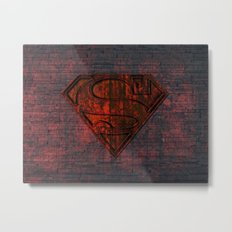 Rustic Red Superman Metal Print