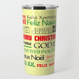 merry christmas in different languages I Travel Mug