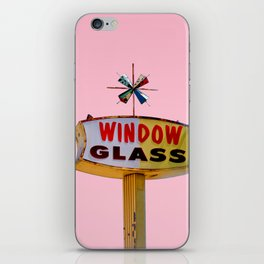 Atomic Pink Starburst - Vintage Googie-Style Sign with Pink Background iPhone Skin