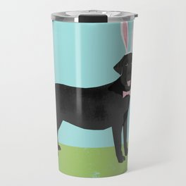 Black Lab labrador retriever dog breed pet art easter portrait costume spring Travel Mug