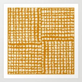 Scribble Checkers Pattern Gold Yellow Ochre Mustard Art Print