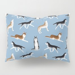 Husky Pattern (Blue Gray Background) Pillow Sham