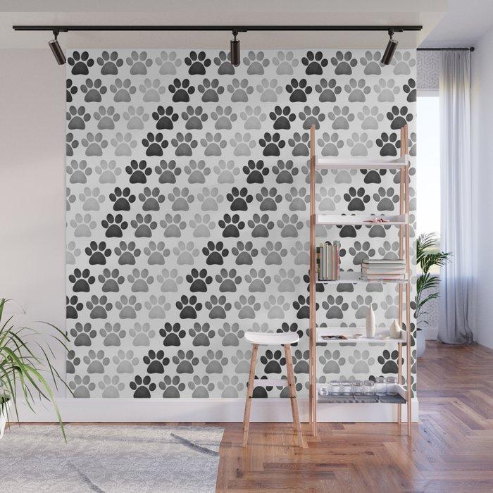 Paw Prints Pattern Wall Mural