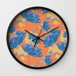 Summer Flowers (blue&orange) Wall Clock