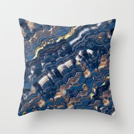 Blue marble with Golden streaks Throw Pillow