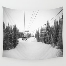 Ski Chair Lift B&W \\ Deep Snow Season Pass Dreams \\ Snowy Winter Mountains Landscape Photography Wall Tapestry
