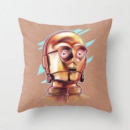 Golden Robot C3PO Throw Pillow