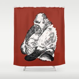 Gorilla and Baby Shower Curtain