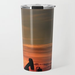 Kansas Sunset with an Oil Well pump silhouette Travel Mug