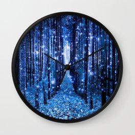 Magical Forest Bluest Blue Wall Clock