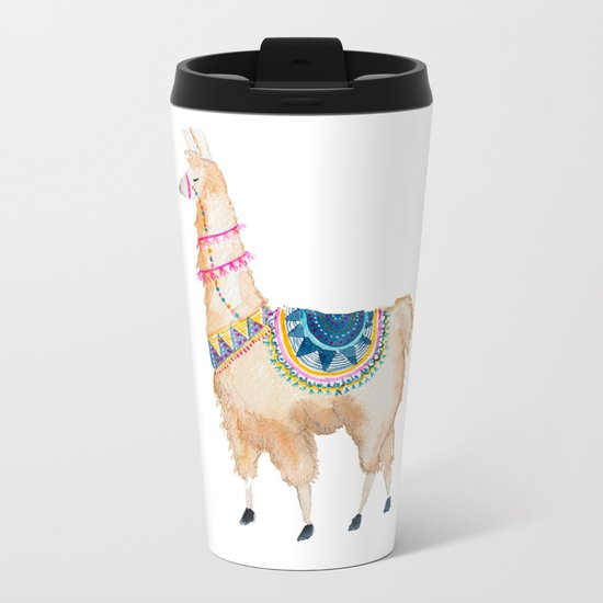 Watercolor llama Metal Travel Mug